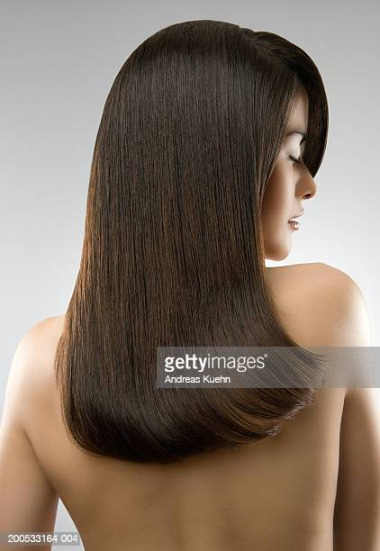 Naked woman with long hair, close-up