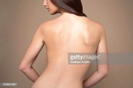 Naked young woman back view. : Stock Photo