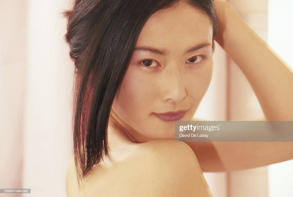 Naked young woman, close-up, portrait : Stock Photo