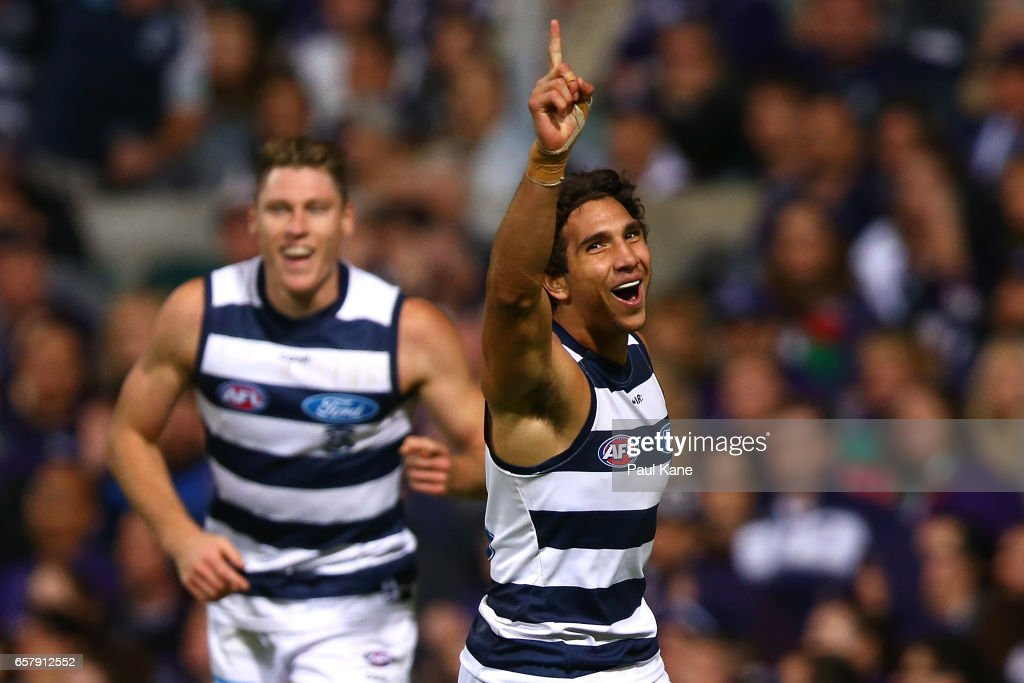 Nakia Cockatoo of the Cats celebrates a goal during the round one AFL match between the Fremantle Dockers and the Geelong Cats at Domain Stadium on March 26, 2017 in Perth, Australia.