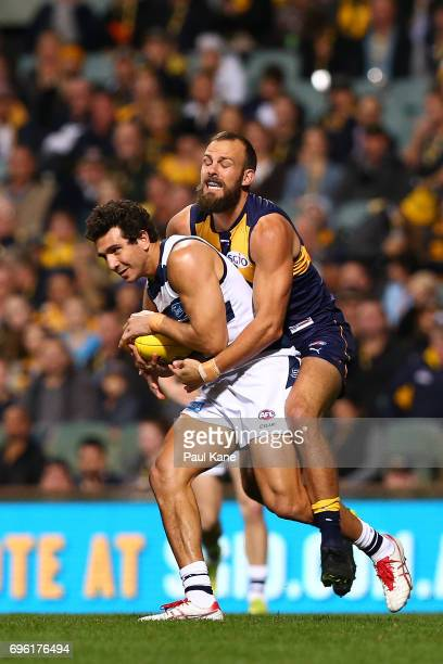 Nakia Cockatoo of the Cats marks the ball against Will Schofield of the Eagles during the round 13 AFL match between the West Coast Eagles and the...