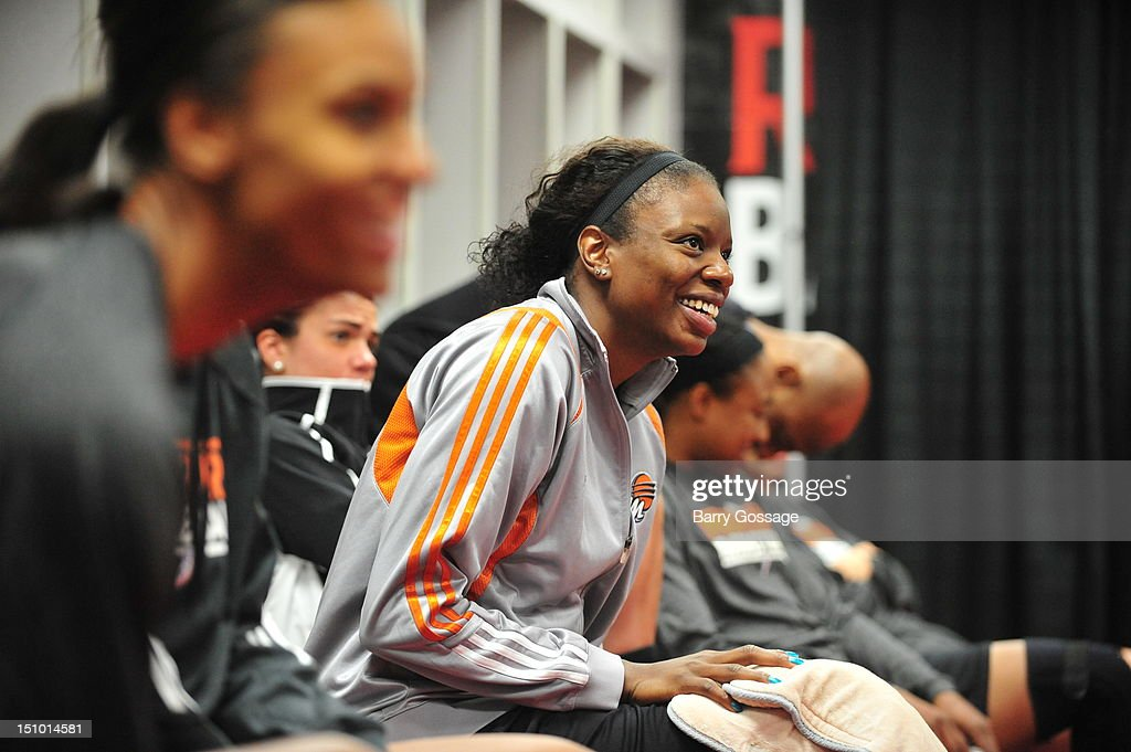Nakia Sanford of the Phoenix Mercury prepares for practice on August 30 2012 at Key Arena in Seattle Washington NOTE TO USER User expressly...