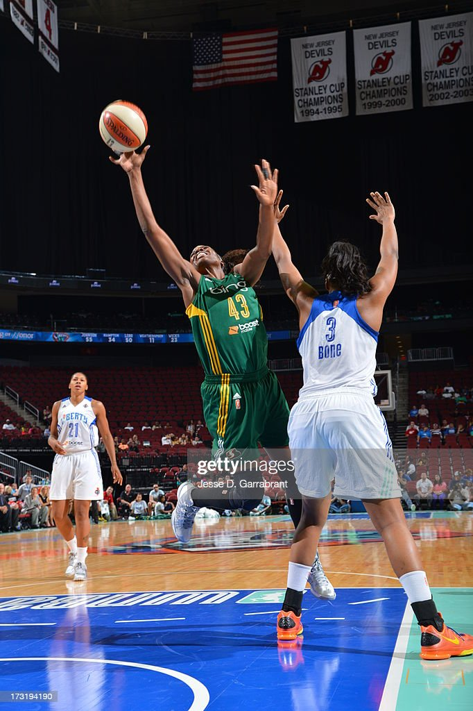 Nakia Sanford of the Seattle Storm shoots against the New York Liberty during the game on July 9 2013 at Prudential Center in Newark New Jersey NOTE...