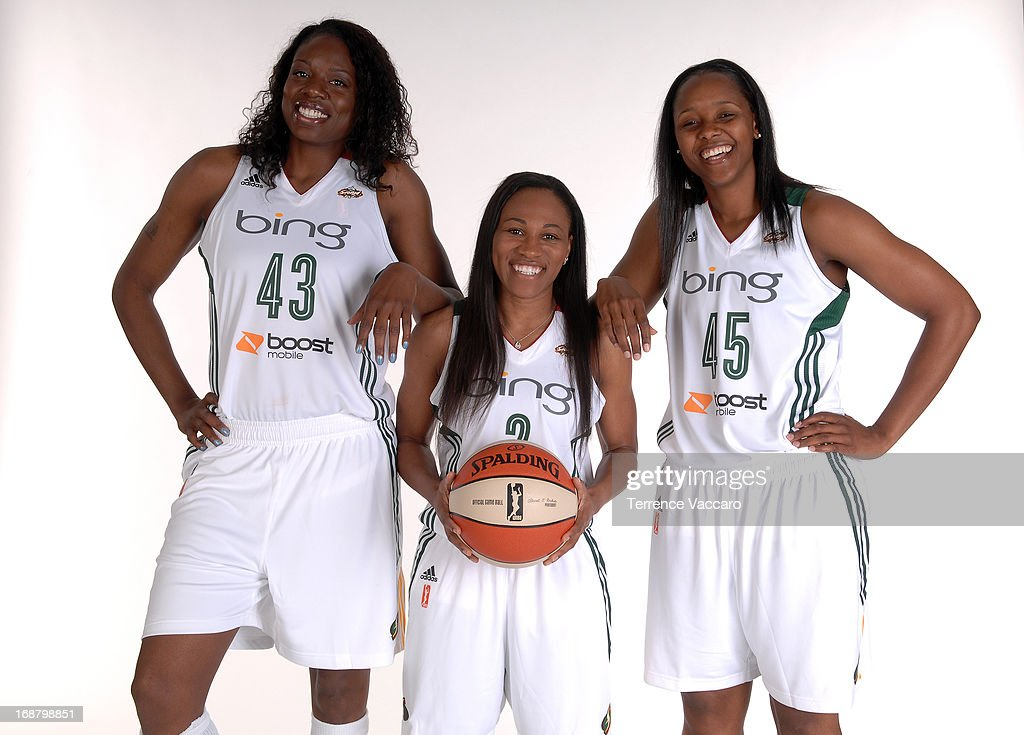 Nakia Sanford Temeka Johnson and Noelle Quinn of the Seattle Storm pose for a photo during WNBA Media Day on May 14 2013 at Key Arena in Seattle...