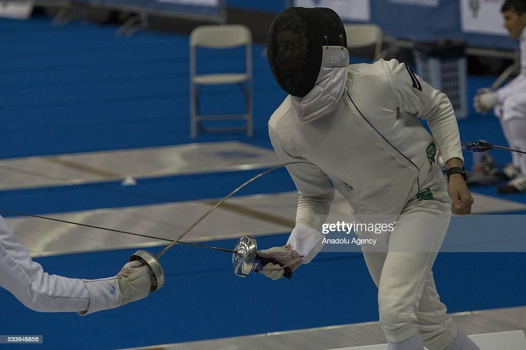 Nakonechnyi Ruslan (Latvia) during the men's relay World Championship in modern pentathlon in Moscow in Olympic Sports Complex in Moscow, Russia, on May 24, 2016.
