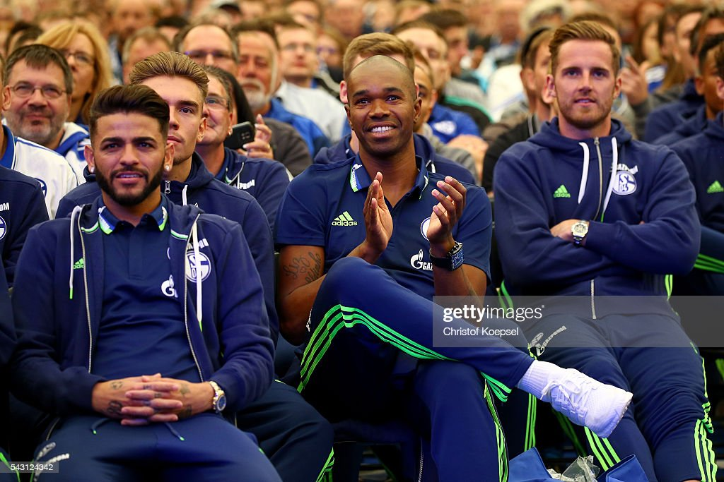 Naldo (C) attends during the FC Schalke 04 general assembly at Veltins Arena on June 26, 2016 in Gelsenkirchen, Germany.