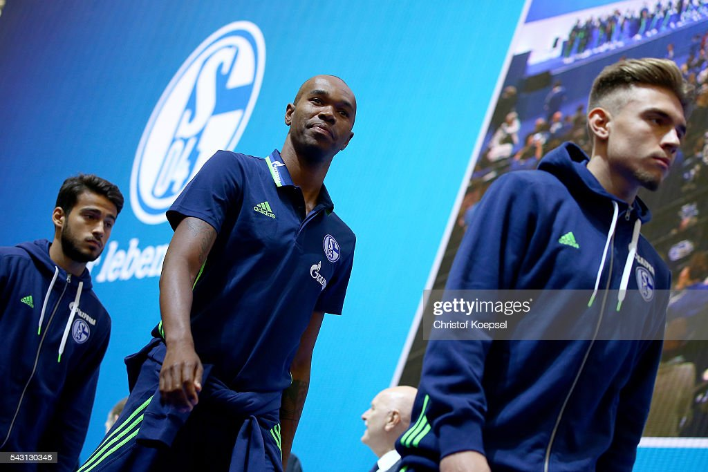 Naldo enetrs the stage during the FC Schalke 04 general assembly at Veltins Arena on June 26, 2016 in Gelsenkirchen, Germany.