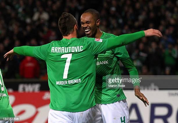Naldo of Bremen celebrates after he scores his 2nd goal during the Bundesliga match between Werder Bremen and VfB Stuttgart at Weser Stadium on...