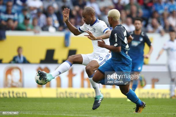 Naldo of Schalke fights for the ball with Serge Gnabry of Hoffenheim during the Bundesliga match between TSG 1899 Hoffenheim and FC Schalke 04 at...