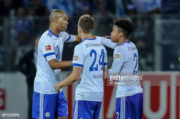 Naldo of Schalke Jorge Andujar Moreno of Schalke and Weston McKennie of Schalke celebrates after winning the Bundesliga match between SportClub...