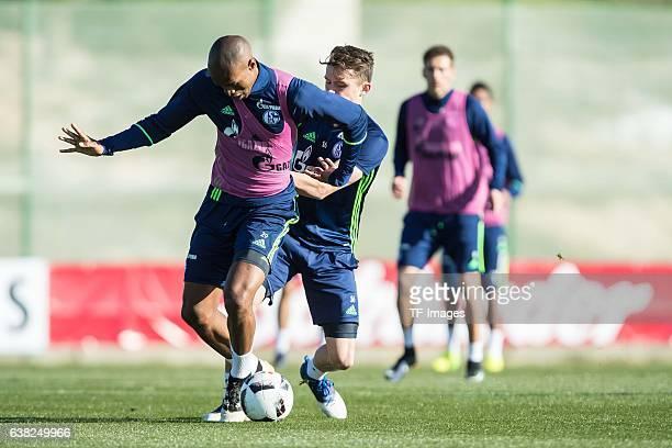 Naldo of Schalkeand Fabian Reese of Schalke battle for the ball during the Training Camp of FC Schalke 04 at Hotel Melia Villaitana on January 07...