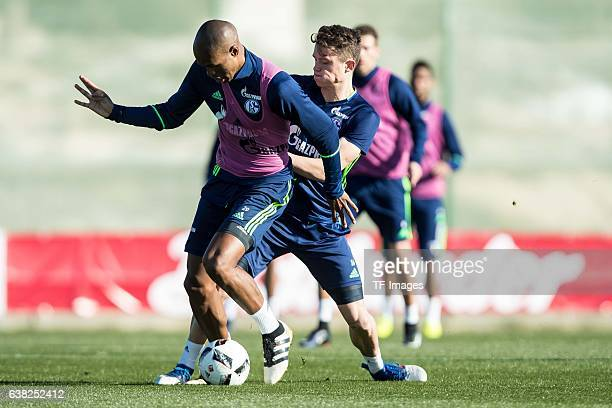 Naldo of Schalkeand Fabian Reese of Schalke battle for the ball during the Training Camp of FC Schalke 04 at Hotel Melia Villaitana on January 07...