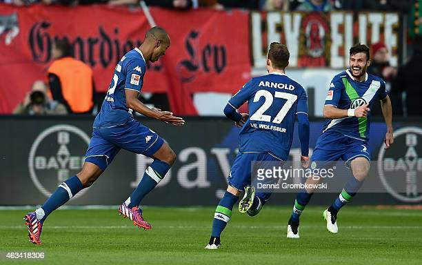 Naldo of VfL Wolfsburg celebrates as he scores the second goal during the Bundesliga match between Bayer 04 Leverkusen and VfL Wolfsburg at BayArena...