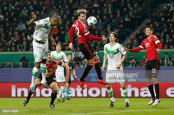 Naldo of VfL Wolfsburg scores his team's third goal during the UEFA Champions League Group B match between VfL Wolfsburg and Manchester United FC at...