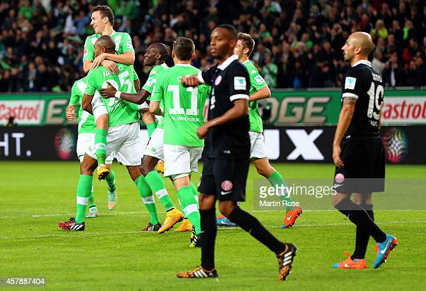 Naldo of Wolfsburg celebrate his team's 2nd goal during the Bundesliga match between VfL Wolfsburg and 1FSV Mainz 05 at Volkswagen Arena on October...