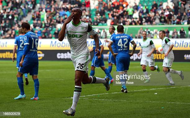 Naldo of Wolfsburg celebrates after he heads his team's 2nd goal during the Bundesliga match between VfL Wolfsburg and TSG 1899 Hoffenheim at...