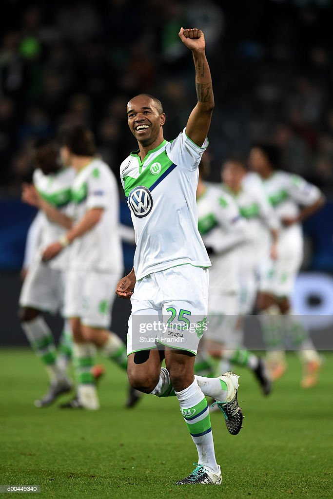 Naldo of Wolfsburg celebrates after scoring his team's third goal during the UEFA Champions League group B match between VfL Wolfsburg and Manchester United at the Volkswagen Arena on December 8, 2015 in Wolfsburg, Germany.