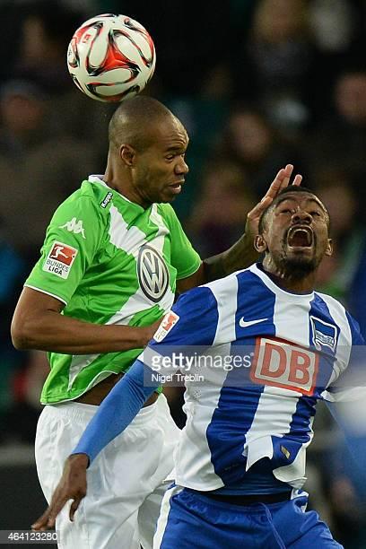 Naldo of Wolfsburg is challenged by Salomon Kalou of Berlin during to the Bundesliga match between VfL Wolfsburg and Hertha BSC Berlin at Volkswagen...