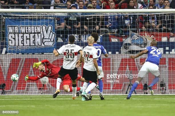 Naldo scores his team's second goal to make it 21 during the Bundesliga match between FC Schalke 04 and VfB Stuttgart at VeltinsArena on September 10...