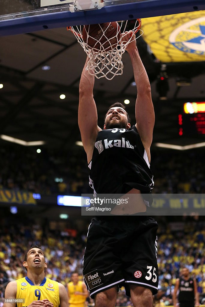 Nalga Cemal, #55 of Besiktas JK Istanbul in action during the 2012-2013 Turkish Airlines Euroleague Top 16 Date 13 between Maccabi Electra Tel Aviv v Besiktas JK Istanbul at Nokia Arena on March 28, 2013 in Tel Aviv, Israel.