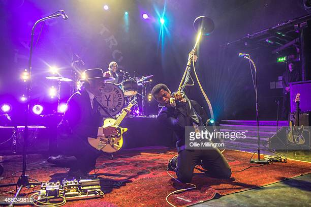 Nalle Colt Richard Danielson and Ty Taylor of Vintage Trouble perform on stage during the bands sold out show at KOKO on March 31 2015 in London...