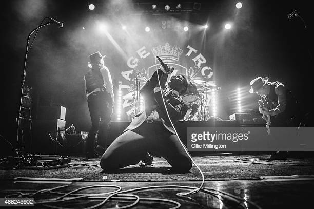 Nalle Colt Richard Danielson Ty Taylor and Rick Barrio Dill of Vintage Trouble perform on stage during the bands sold out show at KOKO on March 31...