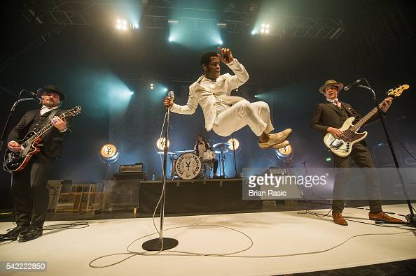 Nalle Colt Richard Danielson Ty Taylor and Rick Barrio Dill of Vintage Trouble perform on June 22 2016 in London England