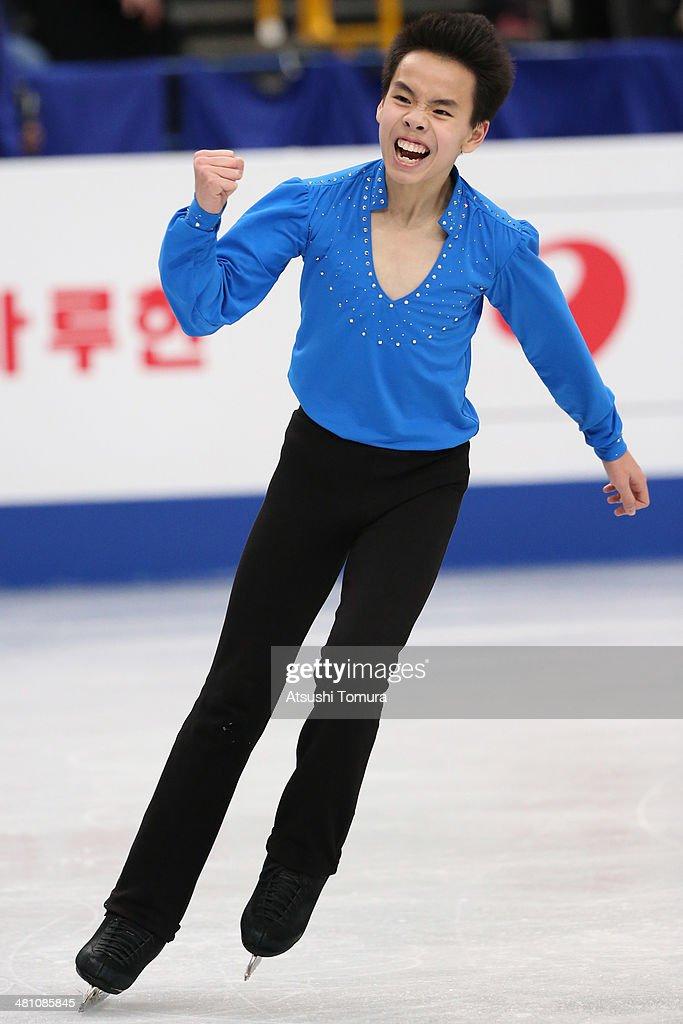 Nam Nguyen of Canada reacts after the Men's Free Skating during ISU World Figure Skating Championships at Saitama Super Arena on March 28, 2014 in Saitama, Japan.