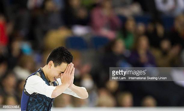 Nam Nguyen of Canada thanks the crowd after competing in the Men's Short Program on day one of Skate Canada International ISU Grand Prix of Figure...