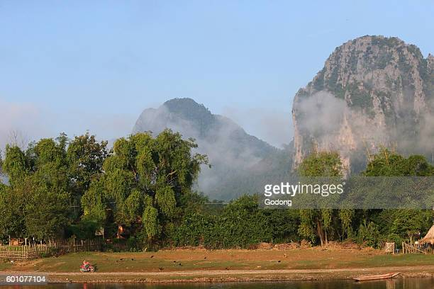 Nam Song River and mountainside in rural Laos near the town of Vang Vieng