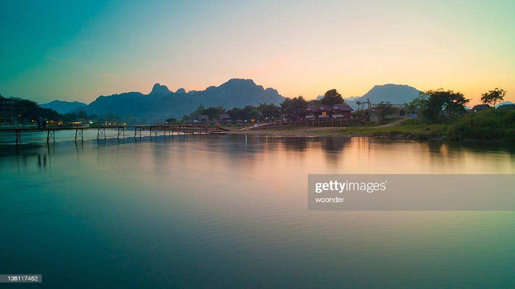 Nam Song river at dusk : Stock Photo