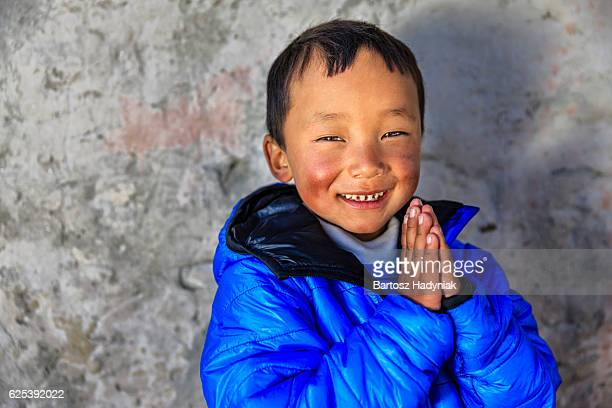 Namaste! - portrait of young Sherpa boy in Everest Region