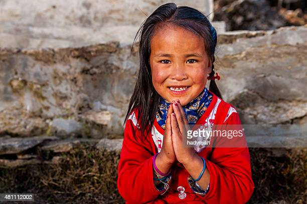 Namaste! - portrait of young Sherpa girl in Everest Region
