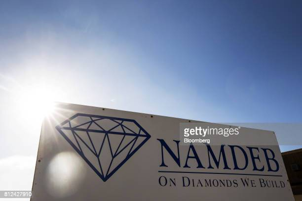 A Namdeb sign stands at the entrance to the Namibian Diamond Trading Co diamond processing and valuation center a joint venture between De Beers...