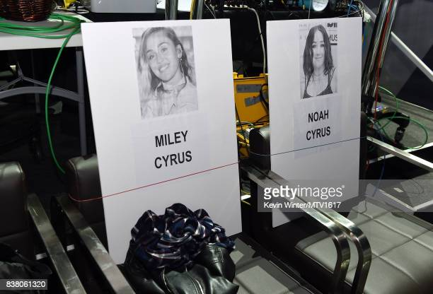 Name cards are displayed during the 2017 MTV Video Music Awards rehearsals at The Forum on August 23 2017 in Inglewood California