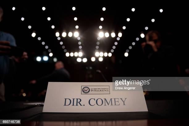 A name placard sits on the table where FBI Director James Comey will testify before the Senate Intelligence Committee in the Hart Senate Office...