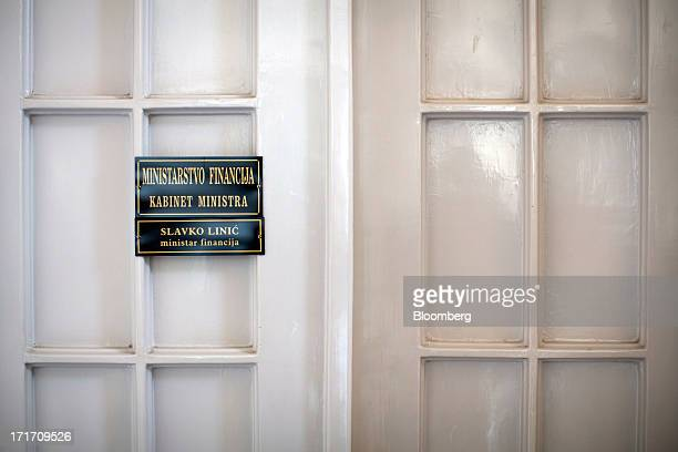 A nameplate for Slavko Linic Croatia's finance minister is seen on his office door at the Croatian Ministry of Finance building in Zagreb Croatia on...