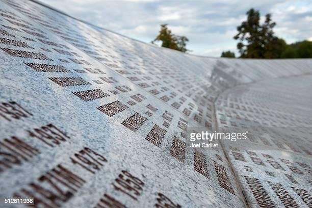 Names at the Srebrenica Genocide Memorial in Bosnia