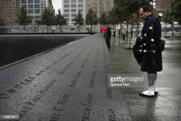 Names of first responders killed on September 11 2001 are viewed during a first responders wreathlaying ceremony at the National September 11...