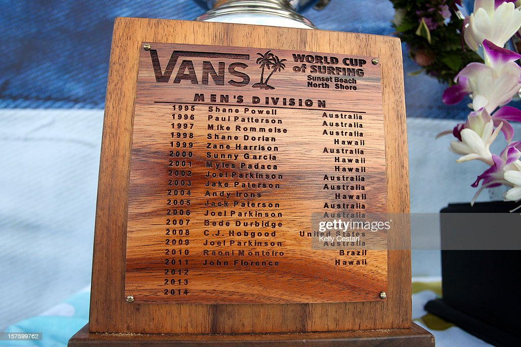 Names of the previous winners are etched into the Vans World Cup of Surfing trophy on December 4, 2012 in North Shore, Hawaii.