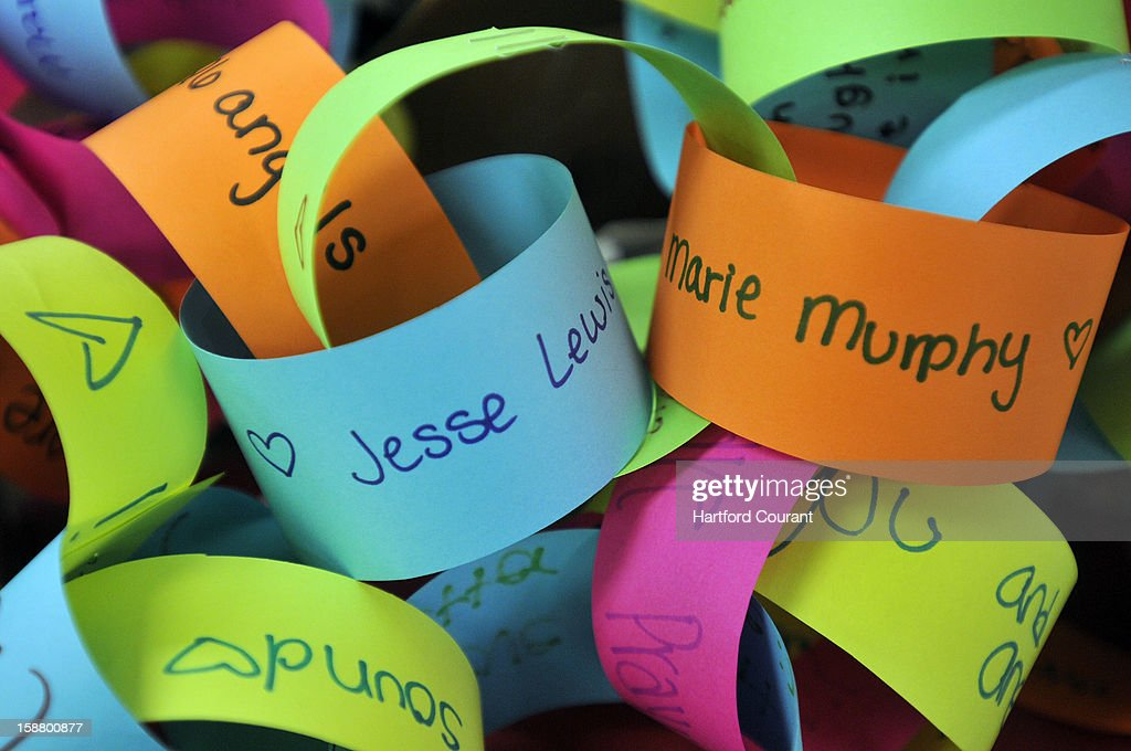 Names of the victims are written on a paper chain garland sent to the Connecticut Parent Teacher Student Association which is collecting snowflakes to create a Winter Wonderland for the kids of Sandy Hook Elementary School.