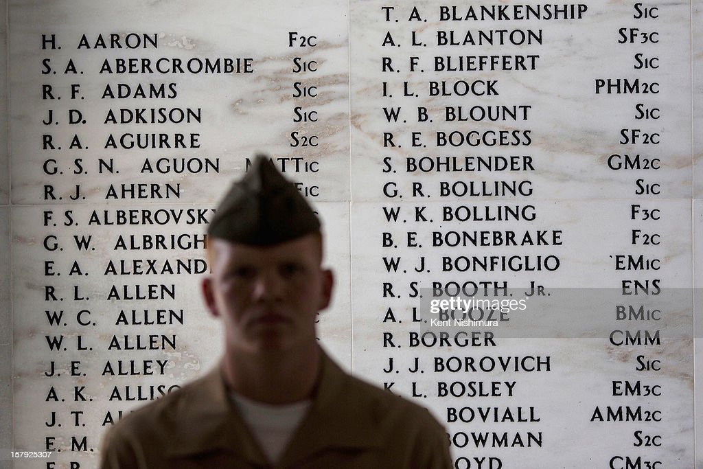 Names sit etched on the Remembrance Wall in the shrine room of the U.S.S. Arizona Memorial at the 71st Annual Memorial Ceremony commemorating the WWII Attack On Pearl Harbor at the World War 2 Valor in the Pacific National Monument December 7, 2012 in Pearl Harbor, Hawaii. This is the 71st anniversary of the Japanese attack on pearl Harbor.