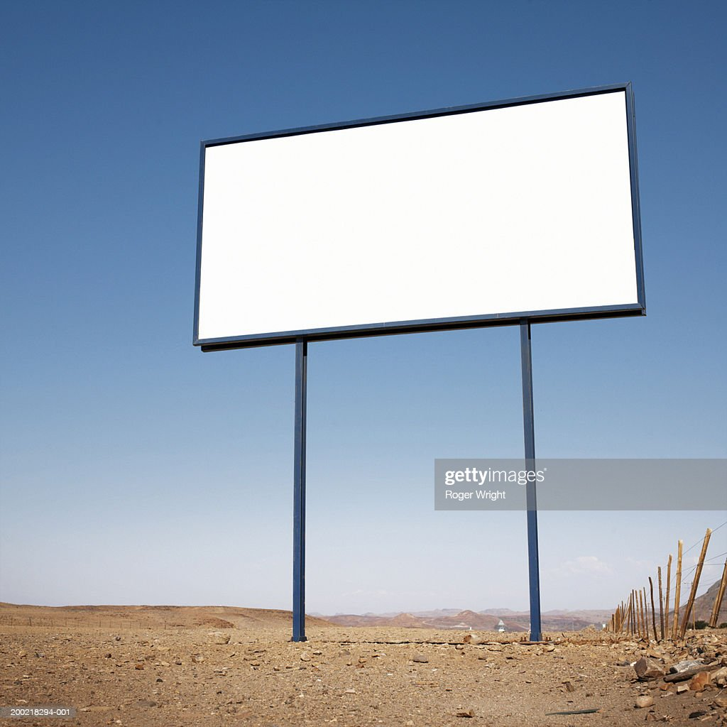 Namibia, blank billboard  in desert landscape, low angle view : Stock Photo