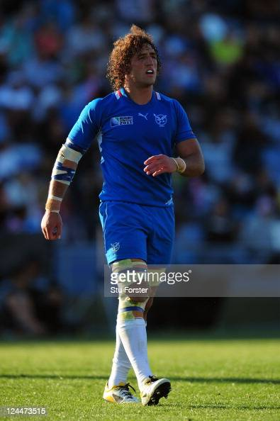 Namibia captain Jacques Burger looks on during the IRB 2011 Rugby World Cup Pool D match between Fiji and Namibia at Rotorua International Stadium on...