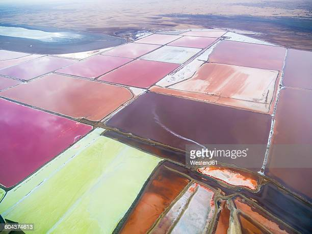 Namibia, Meersig, aerial view of salt mines