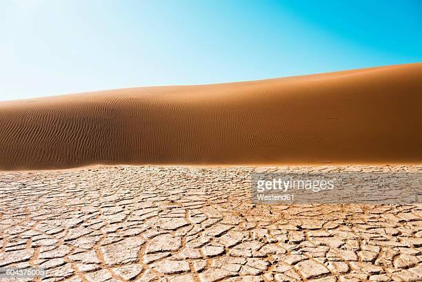 Namibia, Namib Desert, Sossusvlei, Dry cracked earth, dune and blue sky
