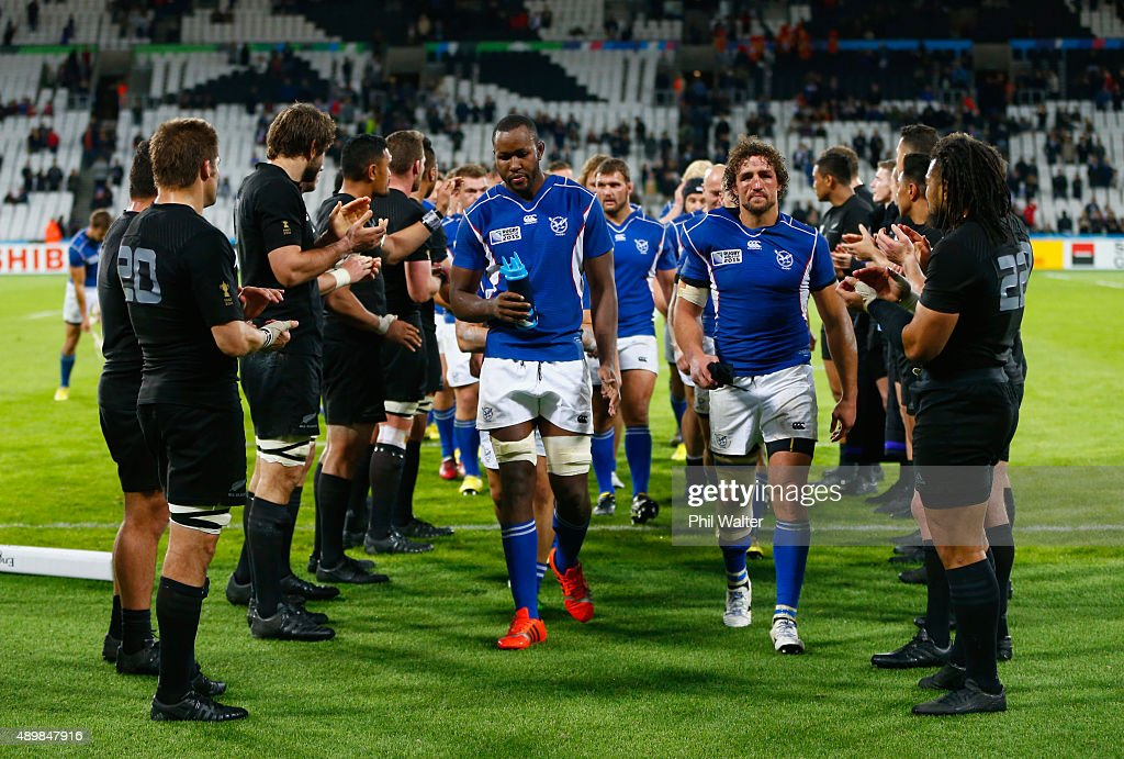 Namibia players are applauded from the field by the All Blacks after during the 2015 Rugby World Cup Pool C match between New Zealand and Namibia at...