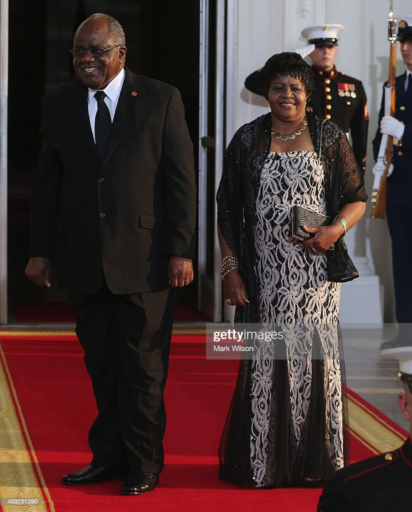 Namibia President Hifikepunye Lucas Pohamba and spouse <a gi-track='captionPersonalityLinkClicked' href=/galleries/search?phrase=Penehupifo+Pohamba&family=editorial&specificpeople=588314 ng-click='$event.stopPropagation()'>Penehupifo Pohamba</a> arrive at the North Portico of the White House for a State Dinner on the occasion of the U.S. Africa Leaders Summit, August 5, 2014 in Washington, DC. African leaders are attending a three-day-long summit in Washington to strengthen ties between the United States and African nations.