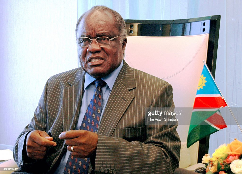 Namibian President <a gi-track='captionPersonalityLinkClicked' href=/galleries/search?phrase=Hifikepunye+Pohamba&family=editorial&specificpeople=863215 ng-click='$event.stopPropagation()'>Hifikepunye Pohamba</a> speaks during the Asahi Shimbun interview on October 16, 2007 in Tokyo, Japan.