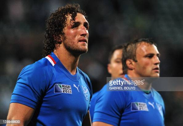 Namibia's flanker Jacques Burger reacts after the 2011 Rugby World Cup pool D match Namibia vs South Africa at North Harbour Stadium in Auckland on...